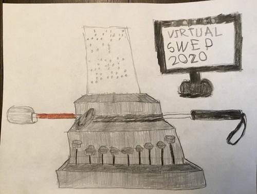 Pencil drawing by SWEP student Anna Reddick. In the foreground there is a brailler with a page of braille in the spool. In the background there is a white-tipped cane on its side and a computer monitor displaying the text VIRTUAL SWEP 2020.