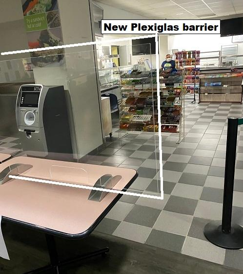 Photo of Valley Cafe in Salem new Plexiglas barrier at the order pickup table