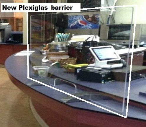 Employment Building cafe with new Plexiglas barrier installed at the checkout counter