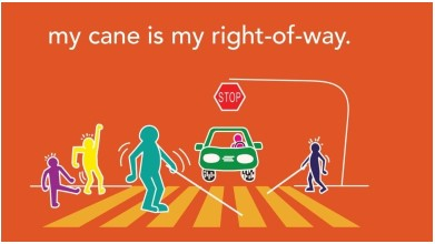Picture of a colorful drawing in the style of Keith Haring. People with white canes are crossing at an intersection while a car waits below a stop sign. Other people nearby are dancing. Text in the middle of the image says My Cane Is My Right Of Way.