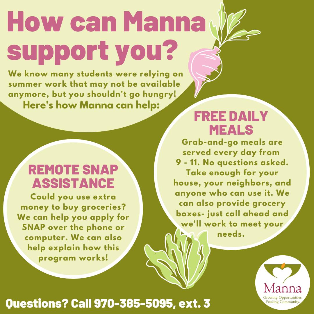 Manna Soup Kitchen Flyer, contact info 970-385-5095 extension 3