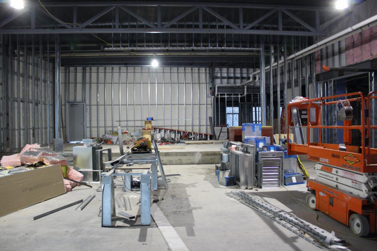 A photo showing construction of the multipurpose room in the new Hutchinson School.