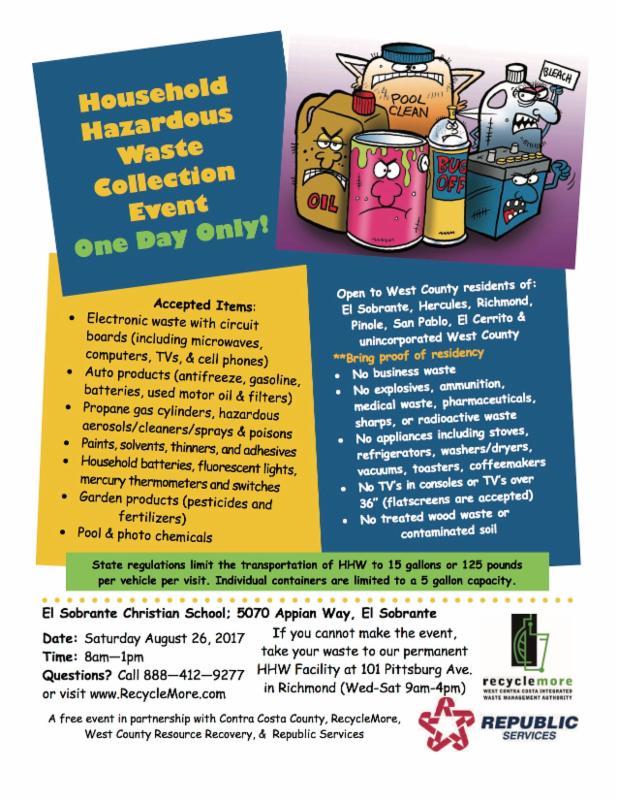 Clarification: Hazardous waste pick-up in El Sobrante August 26