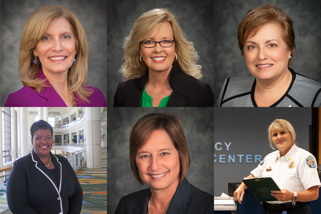 Photo collage of six women employees