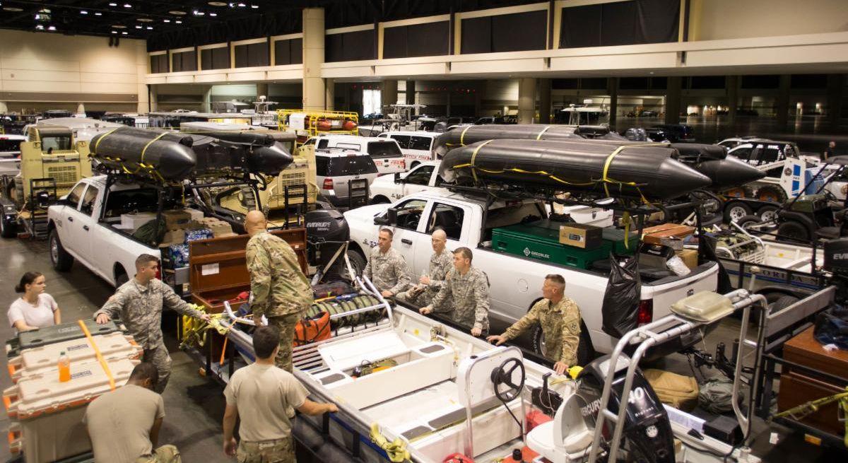 A warehouse full of emergency vehicles