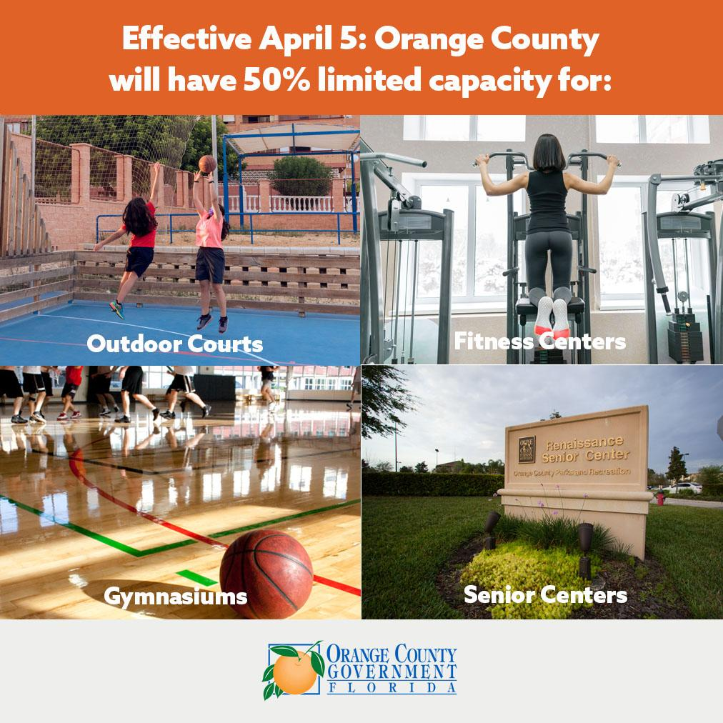 Effective April 5 Orange County will have 50 percent capacity for outdoor courts senior centers fitness centers and gyms