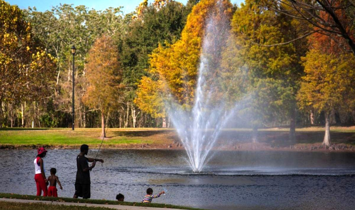 An autum day at a park with a lake and fountain