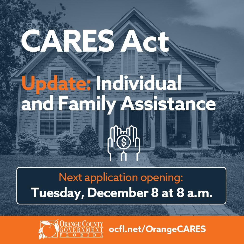 THe next opening of the individual and family assistance program is tuesday december 8 at 8 am