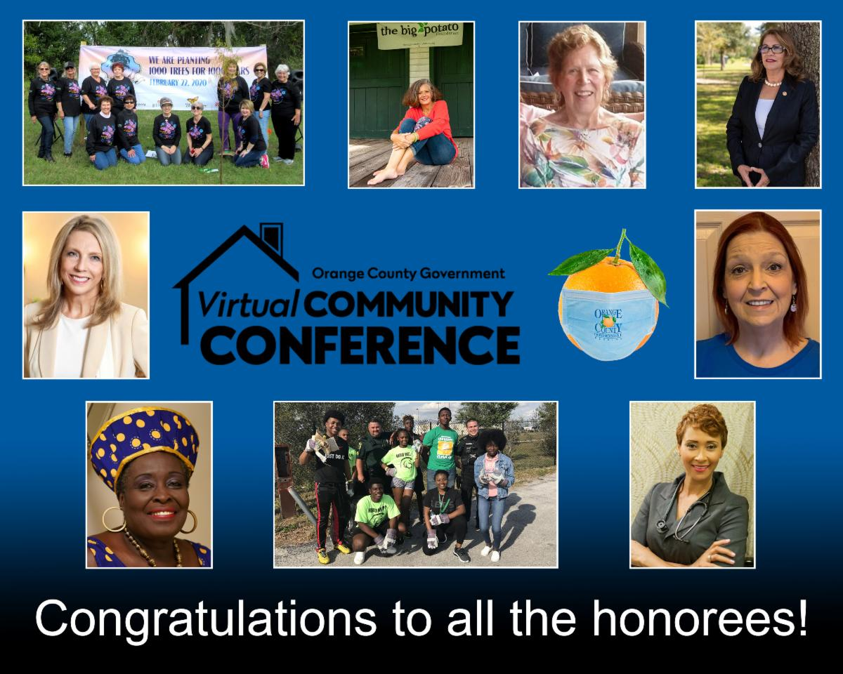 Photos of honored guests at the Community Conference with the words Congratulations to all the honorees