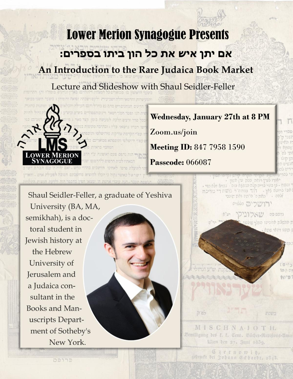 """<span class=""""slider_title"""">                                     An Introduction to the Rare Judaica Book Market - Lecture by Shaul Seidler-Feller                                </span>"""