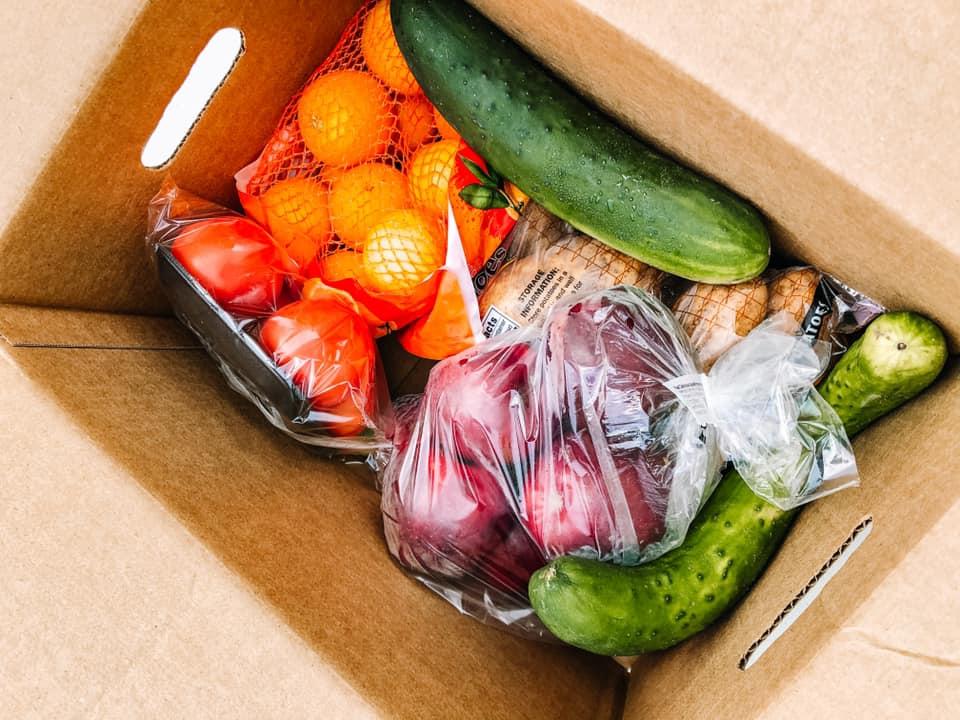 Foods inside a USDA Family Food Box