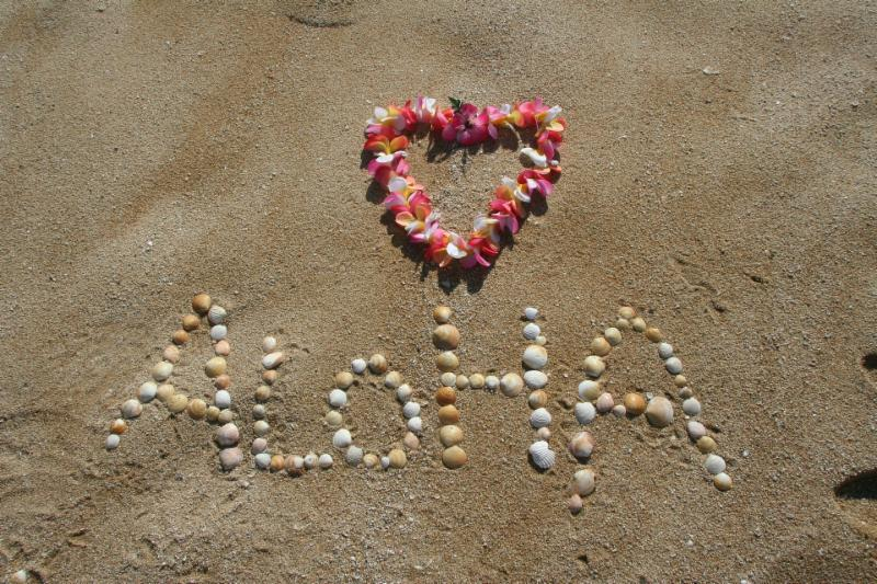 Aloha with heart shaped lei and word in shells on sand Image by bibianagonzalez from Pixabay