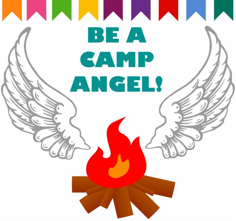 cartoon campfire with angel wings
