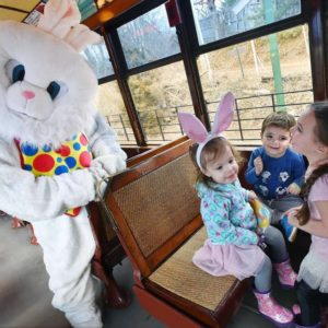 Easter Bunny at the Shore Line Trolley Museum