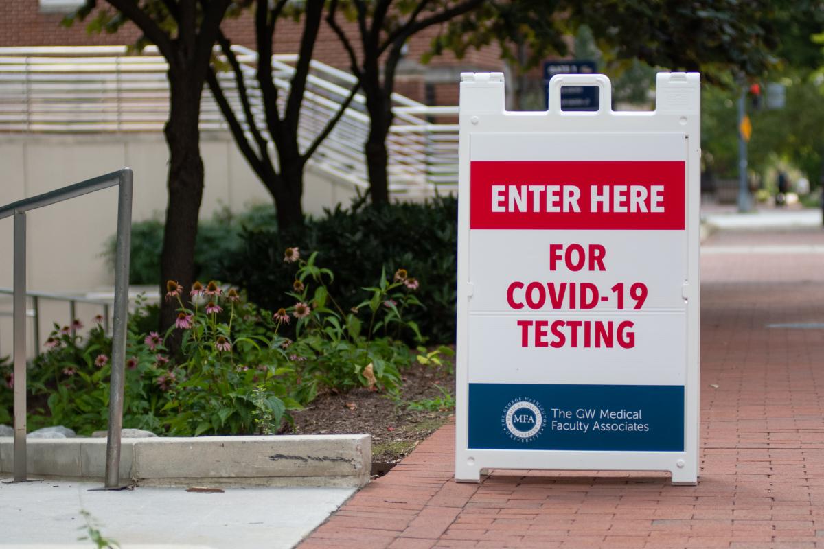 COVID testing sign