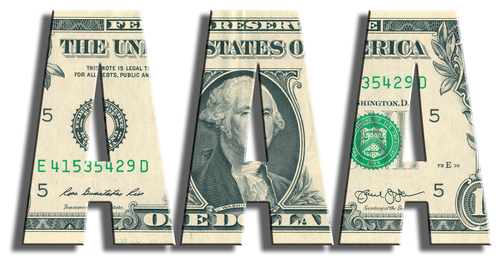 AAA or Triple A Credit rating. US Dollar texture. 3D illustration.