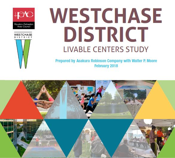 Cover screen shot from Westchase District Livable Centers study with district logo and triangle-shaped images and color blocks