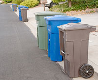 Recycle bins on the curb