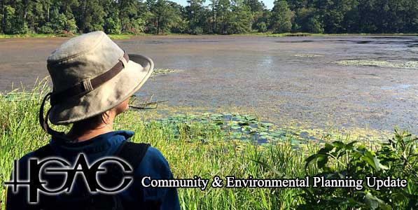 Person looking across a water body with H-GAC and Community and Environmental Planning Update text overlaid at the bottom of the photo