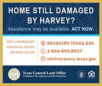 Ad for Hurricane Harvey homeowner assistance from the Texas General Land office. All information provided in text