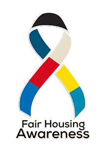Multi-colored ribbon with the words Fair Housing Awareness below