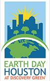 Earth Day Houston at Discovery Green logo with stylized globe in forground and outline of Houston skyline in background