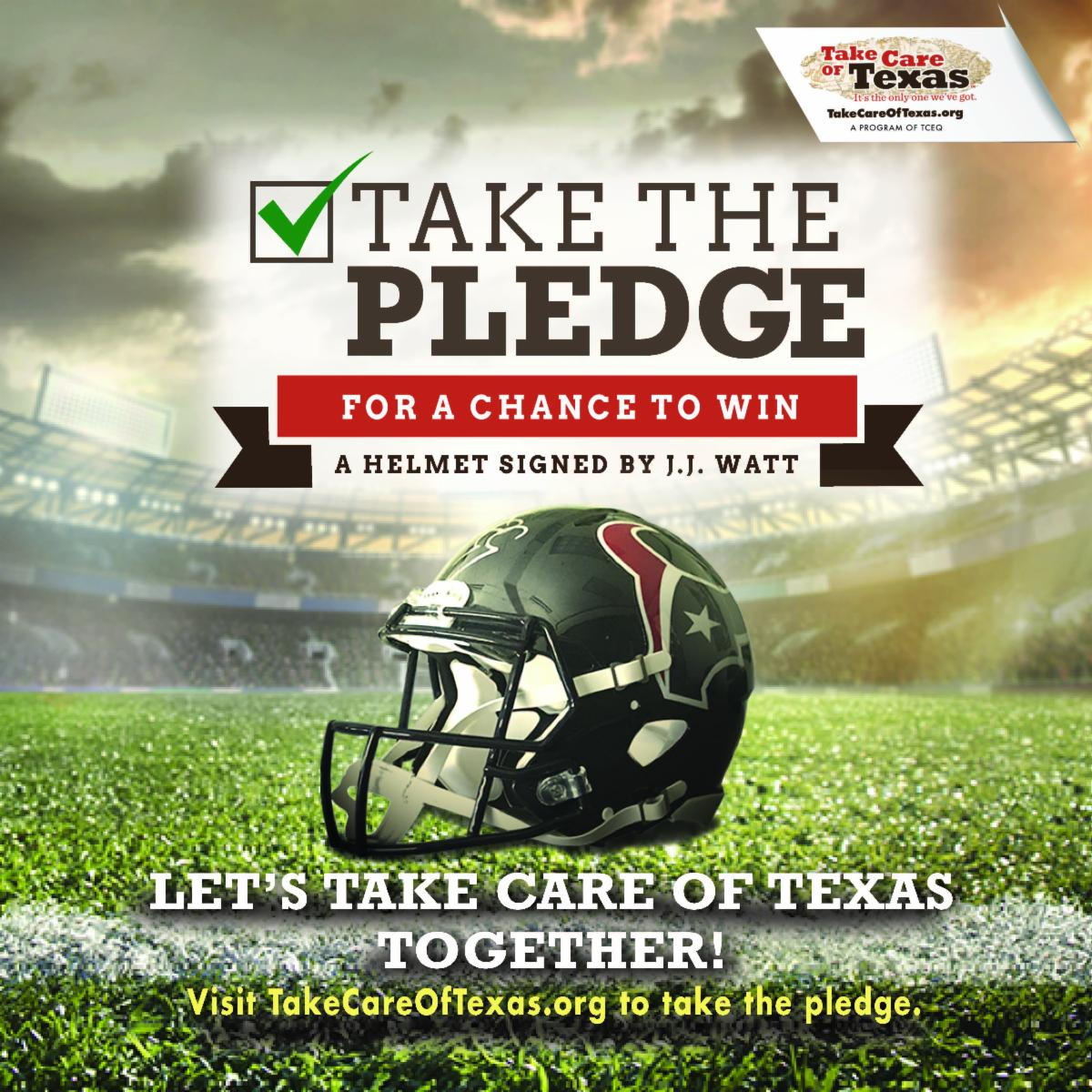 football helmet on field with take the pledge above it