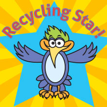 Recycling Star words over bird with blue star and yellow sunburst background