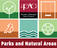 Parks and Natural Areas logo with a tree h-gac logo swing bird water and soccer ball