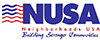 NUSA logo with abstract american flag