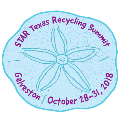 STAR Summit 2018 logo - shaped like a sand dollar - words STAR Texas Recycling Summit - Galveston October 28-31 2018