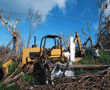 yellow bulldozer in pile of wood debris