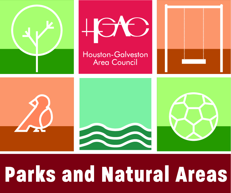 Parks and Natural Areas Logo with stylized tree H-GAC logo swing bird water and soccer ball