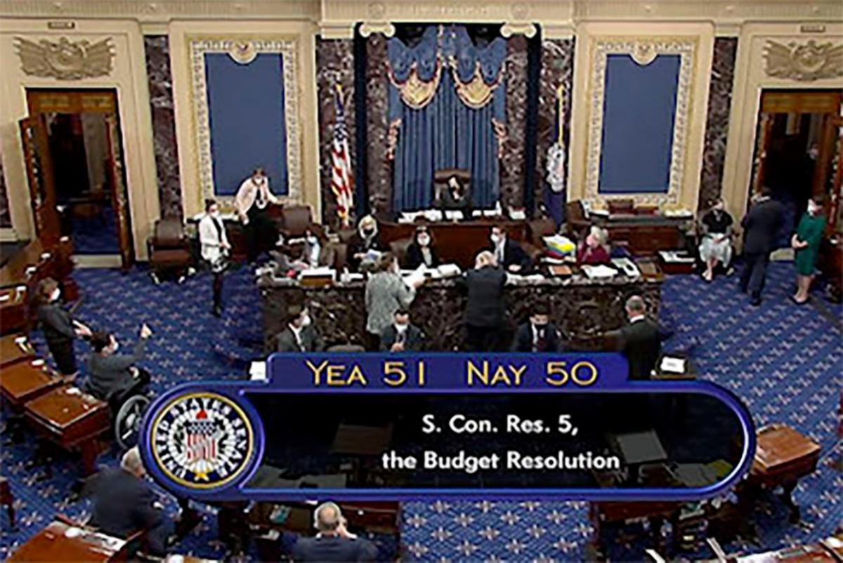 Senate floor on C-SPAN 51 yea 50 no