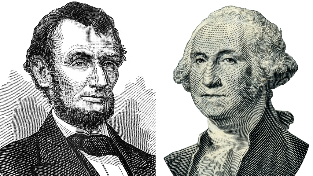 Black and white sketches of busts of Presidents Lincoln and Washington