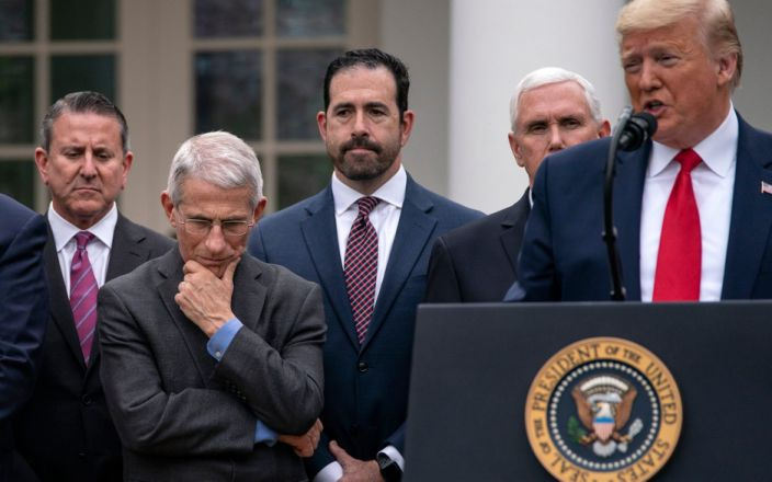 Trump, Fauci, and others at a press conference