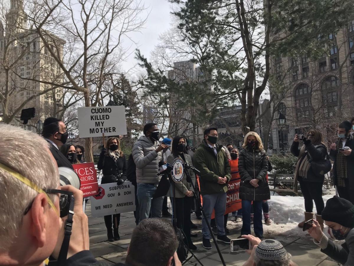 Protestors outside