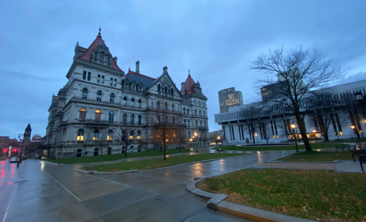 New York Statehouse at dusk in rain