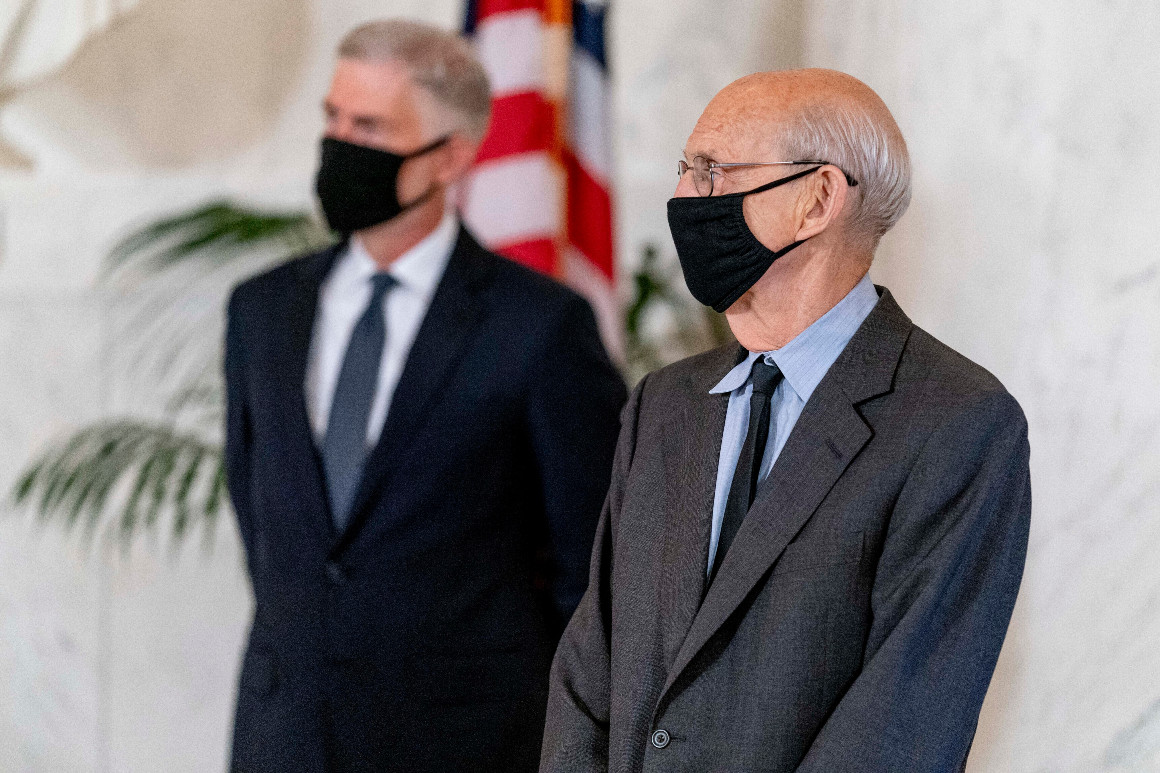Justice Breyer with mask on