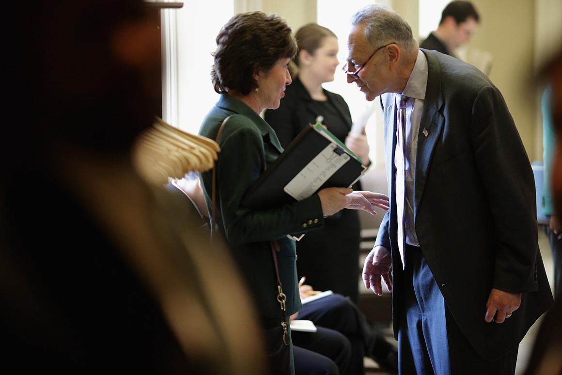 Sen Schumer talking to Sen. Collins