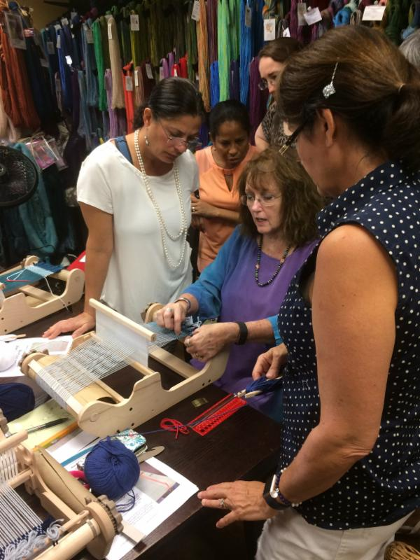 Deborah Jarchow teaches her dynamic weaving class at the Raging Wool Shop