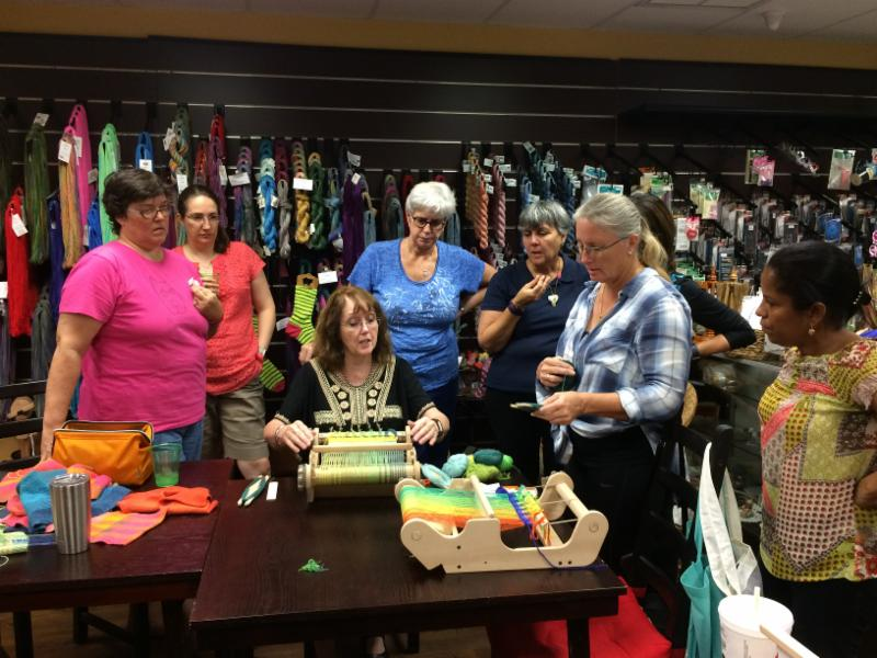 Deborah Jarchow teaches her color blending dishcloth class at the Raging Wool Shop