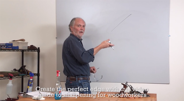 Retail 417-Ron at White Board for The Perfect Edge, the Video Guide to Sharpening for Woodworkers by Popular Woodworking Videos.