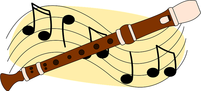 recorder and musical notes