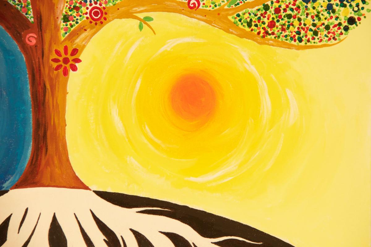 painting of sun and tree