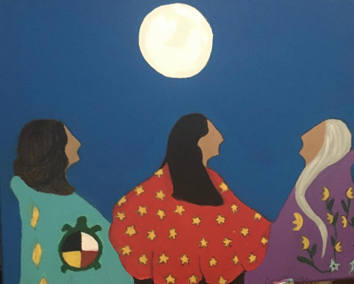 paiting of three women and moon