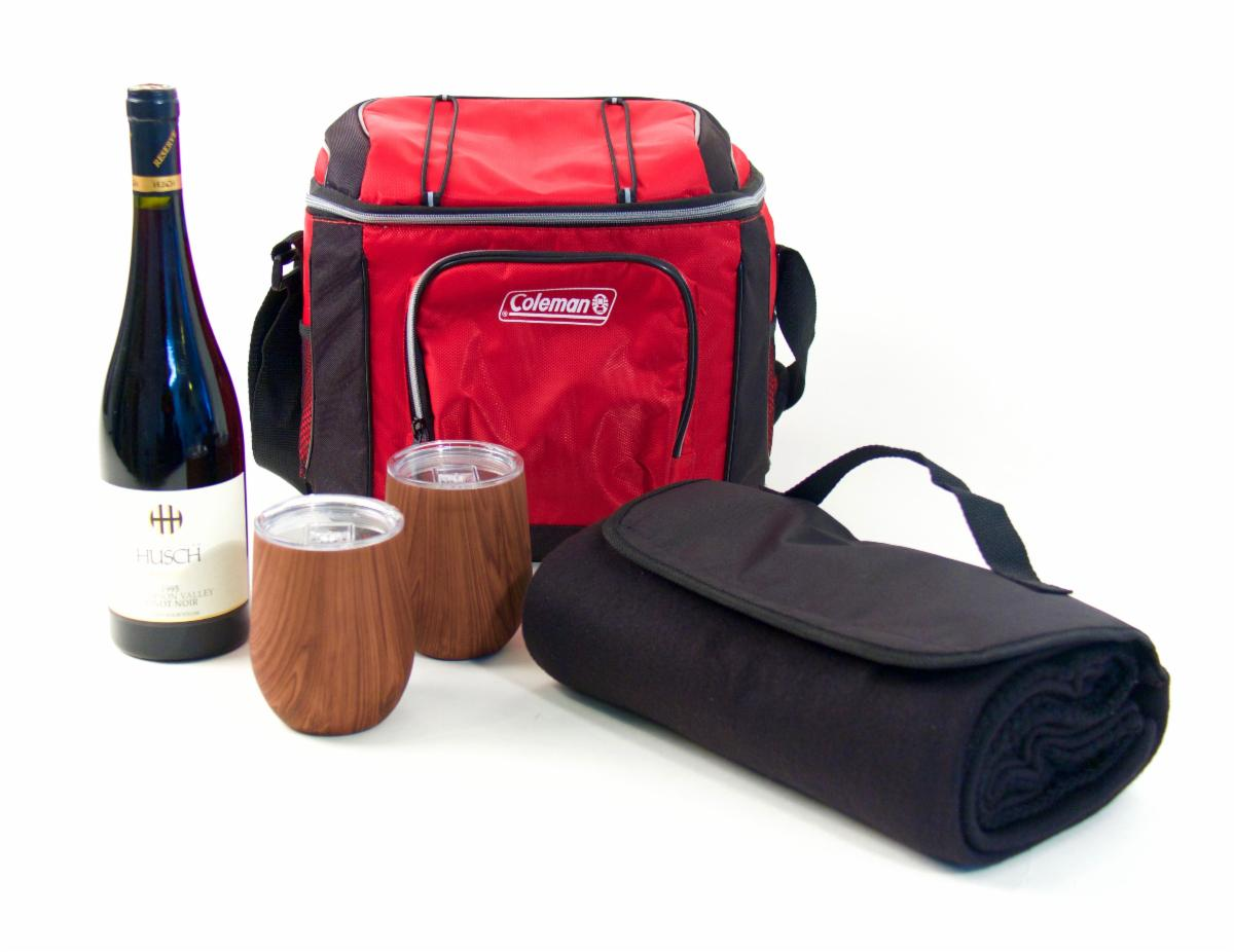 cooler, wine, tumblers and a blanket