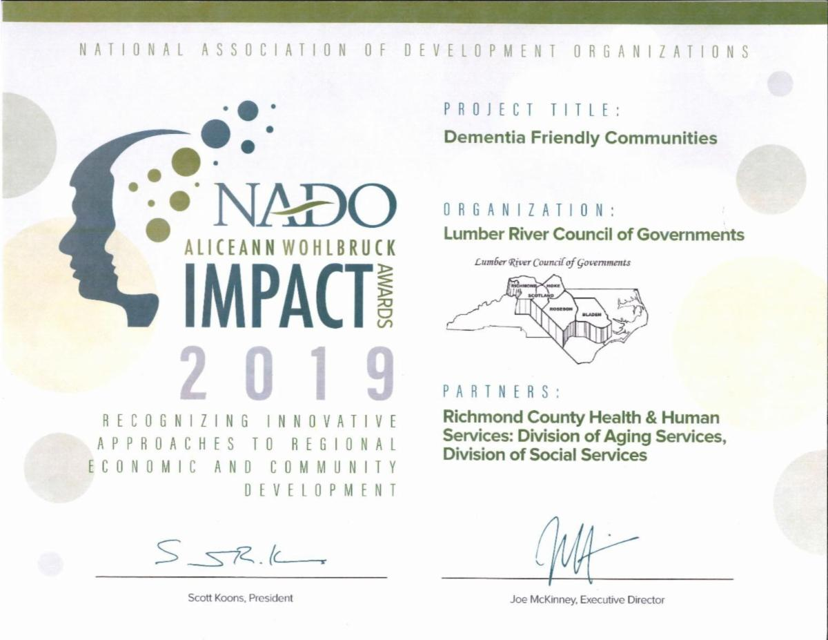 Lumber River Council of Governments Dementia Friendly Communities NADO Award