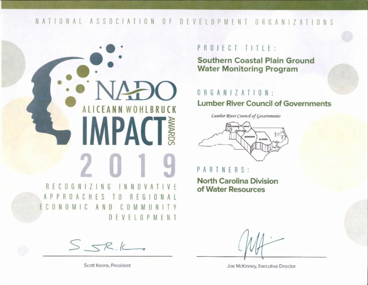 Lumber River Council of Governments Temporary Disaster Employment Program NADO Award