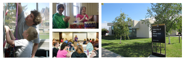 Collage of pictures from left to right: Rec Center worker showing a child how to rock climb. Two artAbility participants smiling while playing drums. IdahoSTARS employee presenting to conference. Outside of CDHD Building.